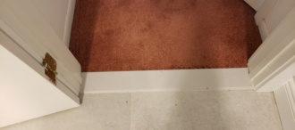 Restretched Plush Carpeting to meet the Marble sill in Ocean City NJ 💙!!